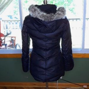 Guess feather puffer jacket down black zip Tub1